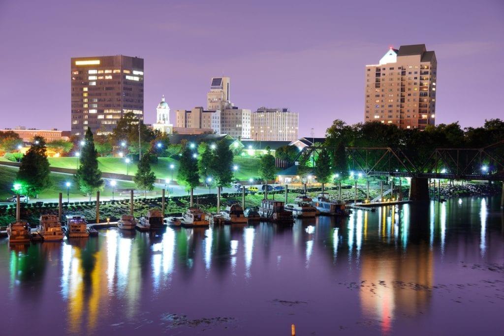 Augusta, Georgia, USA skyline along the Savannah River.