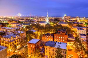 View of the Savannah, Georgia downtown skyline at night
